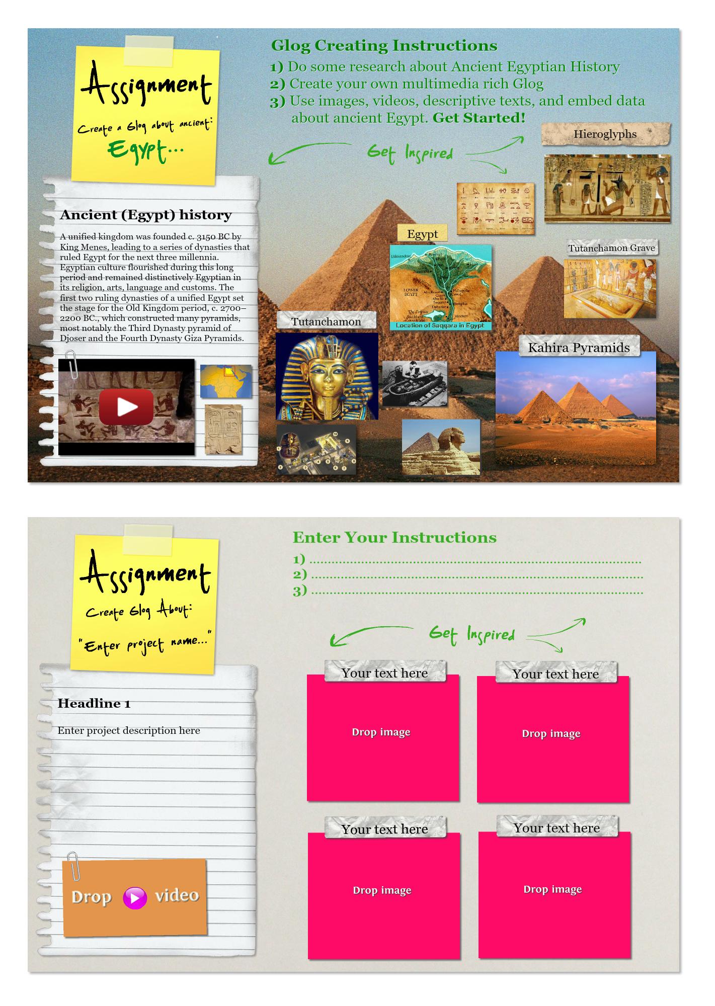 ancient egypt horizontal glog template