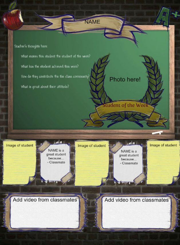 Try this template for your student of the week glogs!